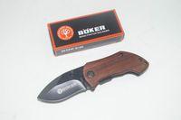 cuchillo de la manija de BOKER DA33 mini pequeño cuchillo plegable de la lámina 440C de madera Cuchillo táctico que acampa cuchillos de caza de regalo de Navidad