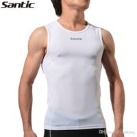 Wholesale SANTIC MTB White Cycling Vest Cycling Base Layer Sleeveless Breathable Tight Underwear Outdoor Sports Riding For Man S XL