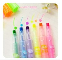 Wholesale Free ship pc Bright fluorescent star Highlighter thickness of multi angle stationery lovely mark pen