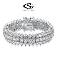 Wholesale 015 G S CZ Platinum plating luxury round bracelet with Stones arrow heart cuting set jewelry for queen