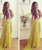 Cheap Sexy Luxury Lady Greek Goddess Contrast Yellow Halter Hollow Out Backless Pleated Chiffon Floor Maxi Long Club Party Dress