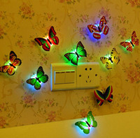 Wholesale 600pcs Free EMS Flashing Colorful Butterfly Night Light Baby Bedside Lights Indoor Lighting Decorations Party Decor Christmas Nightlights