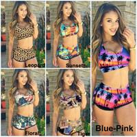 Briefs bandage tops - Fashion Sexy Women Bandage Swimsuit Tankini Sunset Coconut Palm D Printed Racerback Vest Tank Tops Bra Shorts Sports Swimwear KF898