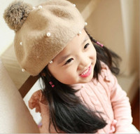 beautiful baby wool hat - New Fashion Spring children Girls Multicolor Beret with Pearl Hats Kids Hats lovely Beautiful baby hats