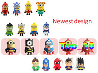 Wholesale Newest Cartoon USB Memory Stick Flash Pen Drive Super Hero Minions Superman Spiderman Star Wars R2D2 Darth Vader Captain America