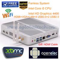 Livraison gratuite Ordinateurs sans fan Barebone Mini PC avec processeur Intel Core i5 4200U CPU GPU HD4400 Windows 8 HTPC HDMI 4K Vidéo WiFi, IR et Bluetooth