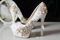 Cheap 2015 Glitter Cheap Wedding Shoes Pearls Crystals Beads Pumps Shoes Gold Rhinestone Lace High Heels Bridal Shoes 473