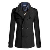 Wholesale Fall Men Winter Peacoat Formal Men s Jacket Funnel Neck Double Breasted Wool Bend Coat Windbreaker Long Jacket Military Coats