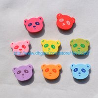 Wholesale 100pcs Children Jewelry Department MM Cartoon Panda With Mix Color Spray Paint wooden beads