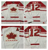 Cheap Mens #12 Iginla A Patch White 2010 Canada Team Vancouver Winter Olympic Hockey Jerseys Ice International Sports Stitched Premier Authentic