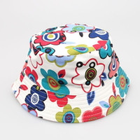 Unisex Summer Crochet Hats 200pcs Hot Sale Baby Cartoon printed flower hat girls cap infant sun hat Colorful Baby Bucket hats canvas children beanie 24 design
