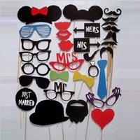 Wholesale 31 set Wedding Event Photo Booth Props Glasses Mustache Lip On A Stick Party Funny Favor Supplies