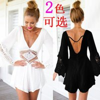 Wholesale Europe the USA and Italy Hot Women s White Lace Hollow V neck Chiffon Backless Long Sleeve Short Party Playsuit Jumpsuit Romper