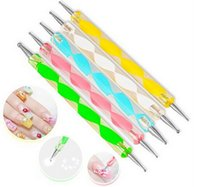 nail art pen - 2 way Dotting Pen Marbleizing Tool Nail Polish Paint Manicure Dot Nail Art Set