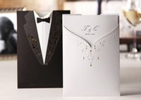 Wholesale Black And White Wedding Invitation With Gold Print Wedding Party Invitation Wedding Accessories Cheap Hot Sale