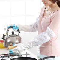 Wholesale With Retail Packing Plus Thick Velvet Latex Gloves Warm Winter Lace Stitching Laundry Chores Lengthened Household Cleaning Gloves