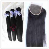 Cheap hair bundles weft with lace closure Best 6A Peruvian Brazilian Virgin Hair weave