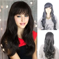 kanekalon wigs - Elegant Long Curly Wave Synthetic Hair Wigs Kanekalon Fiber Anime Cosplay Wigs with Inclined Bangs G Synthetic Natural Wave Wig