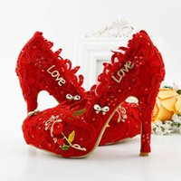 adult bridesmaid shoes - 2016 Latest Beautiful Red Lace Bridal Dress Shoes Women Pumps Fashion Handmade Bridesmaid High Heel Adult Ceremony Party Shoes