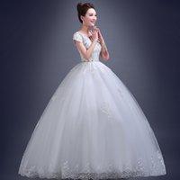 Wholesale V neck dress new fat mm bigger sizes show thin a word shoulder trailing the bride wedding dresses