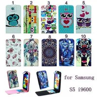 Wholesale TPU Leather Flip Flower Cute Owl Wallet Pouch Case For Galaxy S5 i9600 S4 i9500 Tiger Dream Catcher Purse Floral Skin Credit Card Cover
