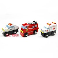Cheap free shipping Wooden cars Police Car Fire Fighting Truck Ambulance compatible child early learning toy wood car toys