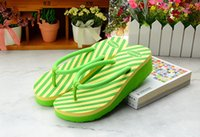 Wholesale The new fashion women s slippers contracted Cool personality beach slippers stripe wedge flip flops