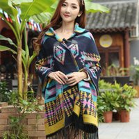 ladies poncho - Lady Hooded Cape Women Elegant Shawls England Kimono Style Poncho Hooded Scarf Bohemian Shawls Scarves Geometry for Spring Autumn Winter