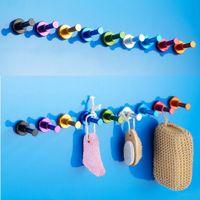 Wholesale Space Aluminum Multi colour DIY Towel Wall Hook Bathroom Kitchen Clothes Key Hat Bag Hanger Rack Holder