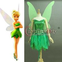 Wholesale Custom Made Adult Princess Tinkerbell Dress Fancy Dress Movie Cosplay Costume for women adults kids Include Wings