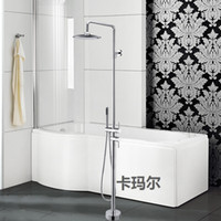 Wholesale Luxury Round Spray Fixed Floor Stand Bathtubs Faucets Water Mixers Bath Crock Tap Sauna Room Sets Spa Tub Furniture Bathroom Shower Sets