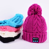 Wholesale Women Bluetooth Cap Warm Beanie Hat Wireless Smart Cap Headphone Headset Speaker Mic