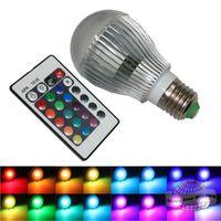 Wholesale LED Lamp Light Colors Changing W magic E27 RGB LED Lamp Light Bulb IR Remote Control Led Lights