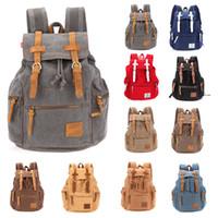 Wholesale Ship from USA Multi Color Men s Vintage Canvas Camping Travel Sport Shoulder Bag Backpacks Outdoor Backpack Cusual Bag