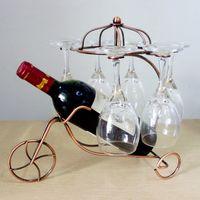 Wholesale Vintage Bike Shaped Wine Rack Hand Made Bottle Holder for Bar Home One Bottle Six Glasses Combination