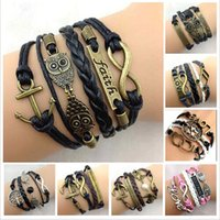 anchor jewelry - 2015 New fashion leather friendship bracelets for women and men infinity Owl anchor rudder lover hearts charm bracelets jewelry