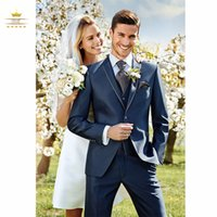 army navy vest - Navy Blue Mens Tuxedos With Pants Custom Made Men Wedding Suits Notch Lapel One Button Jacket Pants Tie Vest WDD0079