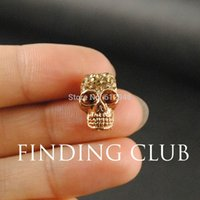 Wholesale Antique Gold plated Amazing Detail Rhinestone Skull Bead Spacer Beads x10mm RS622