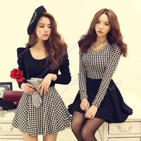 Wholesale Fashion Women Girls Swallow Gird Plaid Long Puff Sleeve Spring Autumn Winter casual Mini Dress Tutu Skirt SV003326