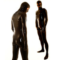 achat en gros de costumes pour hommes en caoutchouc noir-Latex en caoutchouc de haute qualité Handmade Latex Hommes Catsuit Full Cover Body Suit épaule Zip entrée Noir ColorChest Zip LBH-104