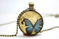 american butter - 10pcs Butter Fly Necklace Vintage Style Jewelry Cute Butterfly Pendant Photo Cabochon Necklace