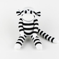 baby shower socks - Handmade Stuffed animals Plush black white Sock Monkey Baby Shower Toys Traditional Birthday Gifts Christmas New Year Soft Doll