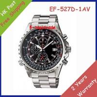 achat en gros de pendule quartz-New EF-527D-1AV Hommes cadran noir EF-527D Chronographe 527D Montre EF-527D-1A Gents Wristwatch 1/20 Second Chronomètre Pendulum Balançoire Fonction