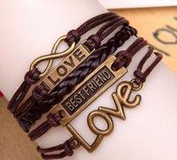 bestfriend charms - 2015 New Surfer Tribal Wrap Multilayer Genuine Leather Cuff BESTFRIEND LOVE infinity Bracelet