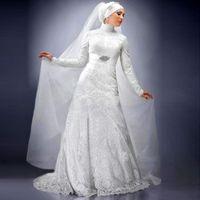 abaya fancy dress - Hot New Fancy Muslim Ivory Lace Wedding Dresses With Hijab A Line Custom Made High Neck Dubai Abaya Kaftan Islamic Bridal Gown Long Sleeve