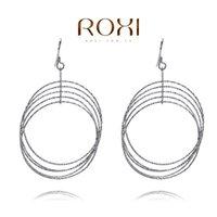 Wholesale 015 ROXI Sterling silver Fine Jewelry Silver AAA CZ Modelling Circle Beauty Earrings3020031809