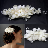 Wholesale 2015 Newest Hand Made Women Hair Accessories Bridal Hair Comb Clip Ivory Headband Hair Flowers Ivory Silk Wedding Hair Accessories For Bride