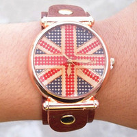 best vintage uk - Best Selling Vine Handmade Genuine leather Band Watches UK Flag Dial Bracelet Wrist watch Women Stylish
