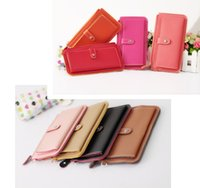 Wholesale Fashion Women Wallets PU Leather Wallet Single Zipper Day Clutch Purse Wristlet Portefeuille Handbag Carteira Feminina Colors