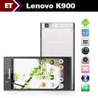Cheap Original Lenovo K900 Cell Phones 5.5 inch IPS FHD 1920x1080 Screen Android 4.2 Intel Atom Z2580 Dual Core 2G RAM13MP Camera